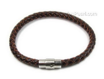 Brown Braided Uni Round Leather Cord Bracelet Whole 6mm