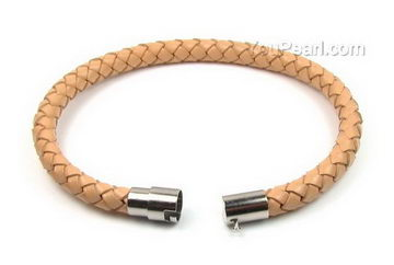 Yellow Braided Uni Round Leather Cord Bracelet 6mm