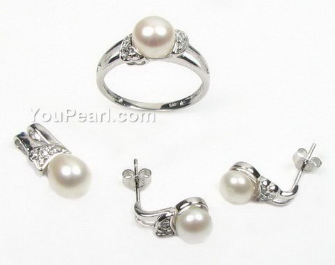 Freshwater Cultured Pearl Jewelry Set 925 Sterling Silver 7 8mm