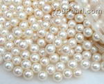 7-7.5mm wholesale white round freshwater pearl beads, AA+