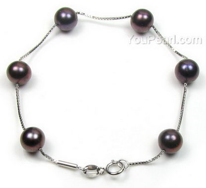 Sterling tin cup off-round black fresh water pearl bracelet, 7-8mm