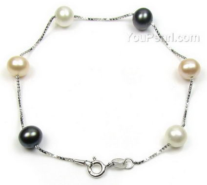 Multicolor sterling tin cup off-round freshwater pearl bracelet, 7-8mm