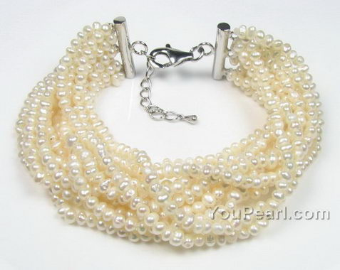 12 strands white seed pearl bracelet for sale, sterling silver