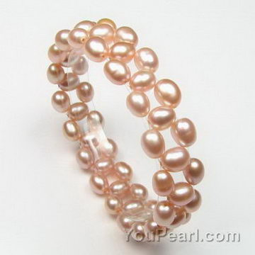 5-6mm freshwater natural pink rice pearl bracelet wholesale
