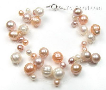 Multicolor illusion freshwater pearl bracelet, bridal jewelry on sale