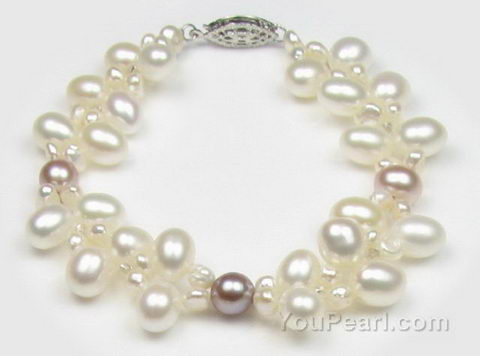 Double strand multicolour freshwater pearl bracelet factory direct sale