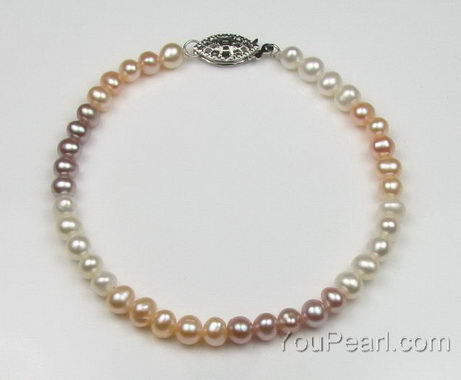 Children's pearl bracelet, multicolor cultured pearls wholesale online
