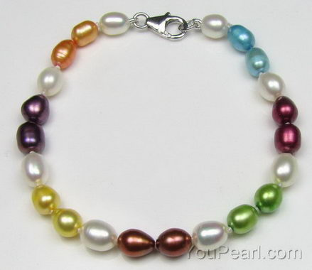 Colorful rice fresh water pearl bracelet factory direct sale