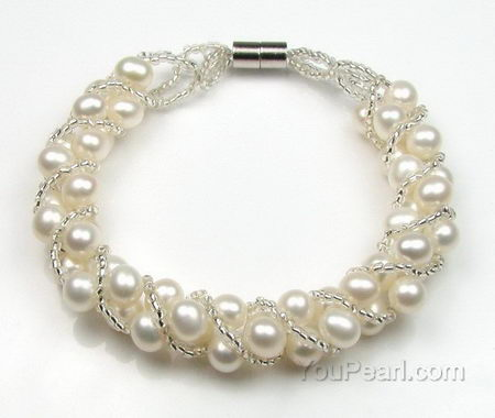 Twisted white freshwater pearl bracelet factory direct sale, 5-6mm