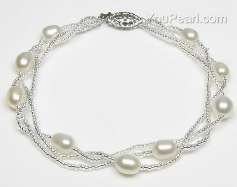 White freshwater twisted pearl bracelet whole sale online, 6-7mm