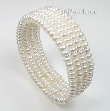 Four rows freshwater pearl bracelet on sale, silver link