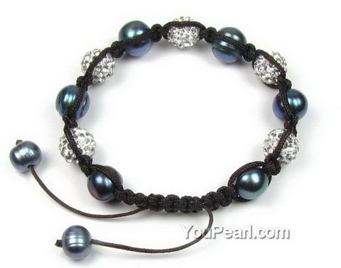 Peacock black freshwater pearl shamballa crystal ball bracelet, 10mm