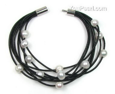 Multi-strand white freshwater pearl leather bracelet on sale
