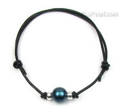 Black single freshwater pearl leather bracelet wholesale online, 10mm