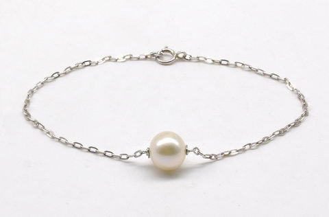 Floating single pearl bracelet, sterling silver bridal bridesmaid bracelet on sale, 5 to 8.5 inches