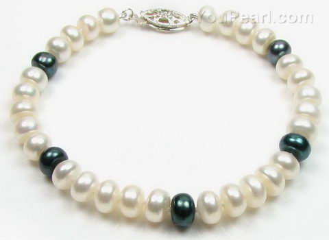 White & black cultured button pearl bracelet discounted sale, 7-8mm