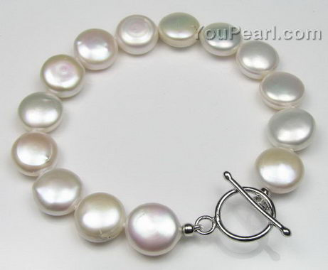 Freshwater white coin pearl bracelet on sale, 11-13mm