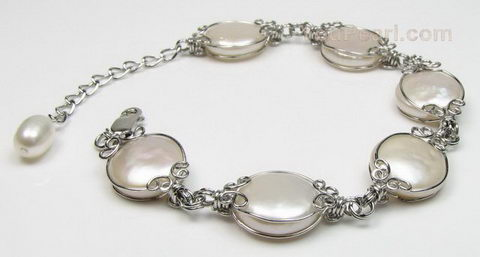 White coin freshwater pearl bracelet, sterling silver, 12-13mm wholesale