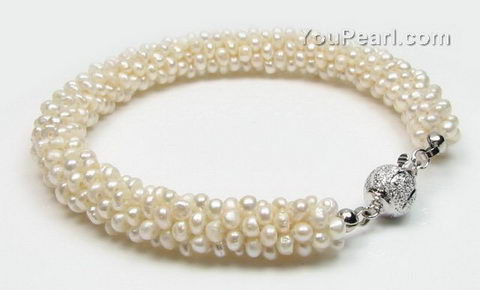 Twisted multi-stands white freshwater pearl bracelet wholesale