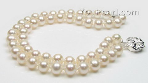 Two rows white round freshwater pearl bracelet AAA 6-7mm wholesale