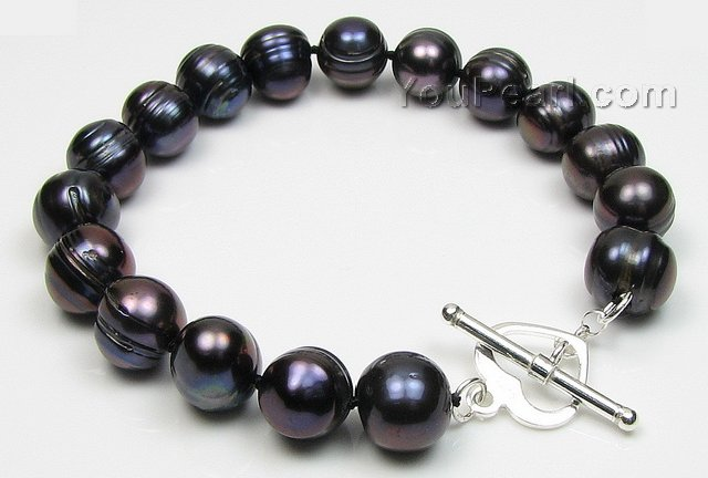baroque cultured freshwater black pearl bracelet 10 11mm