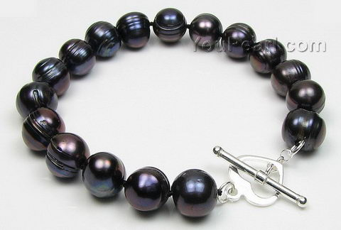 Baroque cultured freshwater black pearl bracelet 10-11mm wholesale