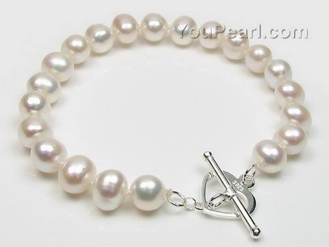 White potato shape freshwater pearl bracelet wholesale, 8-9mm