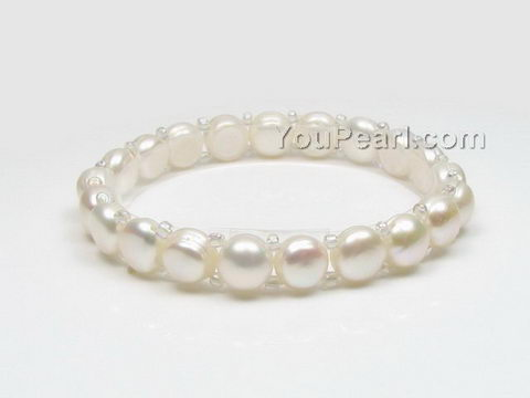 Stretchy white button freshwater pearl bracelet wholesale, 7-8mm