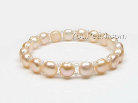 Stretchy pink button freshwater pearl bracelet wholesale, 7-8mm