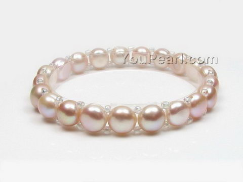 Stretchy lavender button freshwater pearl bracelet wholesale, 7-8mm