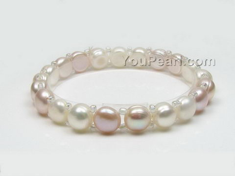 Stretchy white & lavender button freshwater pearl bracelet wholesale, 7-8mm