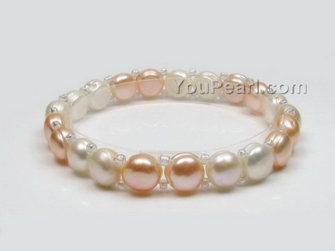 Stretchy white & pink button freshwater pearl bracelet wholesale, 7-8mm
