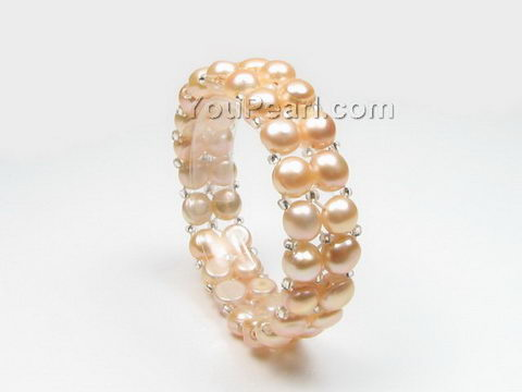 Stretchy pink freshwater pearl bracelet wholesale, 7-8mm