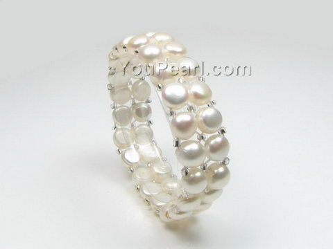 Stretchy freshwater white pearl bracelet wholesale, 7-8mm