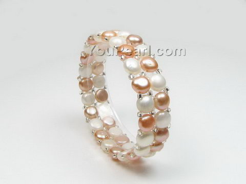 White & pink stretchy freshwater pearl bracelet wholesale, 7-8mm
