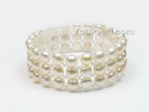 Triple row stretchy freshwater white pearl bracelet wholesale, 6-7mm