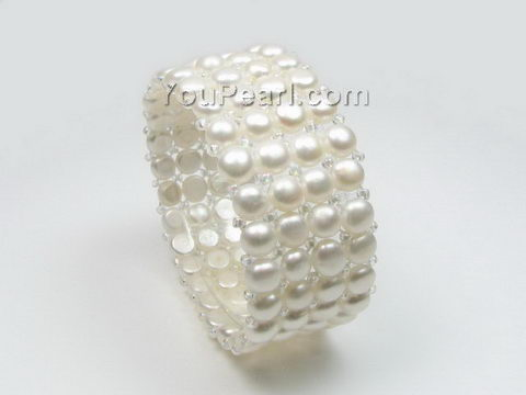 Four row stretchy white freshwater pearl bracelet wholesale, 6-7mm