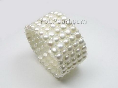 Five row stretchy white freshwater pearl bracelet wholesale, 6-7mm