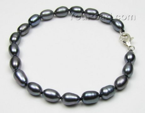 Wholesale blue teardrop rice cultured freshwater pearl bracelet, 6-7mm