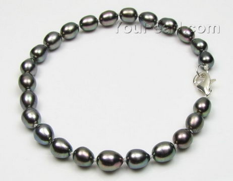 Peacock tear drop rice cultured freshwater pearl bracelet wholesale, 6-7mm