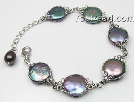 Black coin freshwater pearl bracelet wholesale, 925 silver, 12-13mm