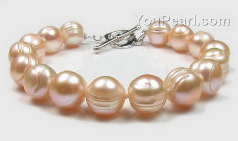 10-11mm pink fresh water cultured baroque pearl bracelet buy direct