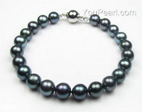 Pearl bracelet, black off-round cultured fresh water pearls buy online, 8mm