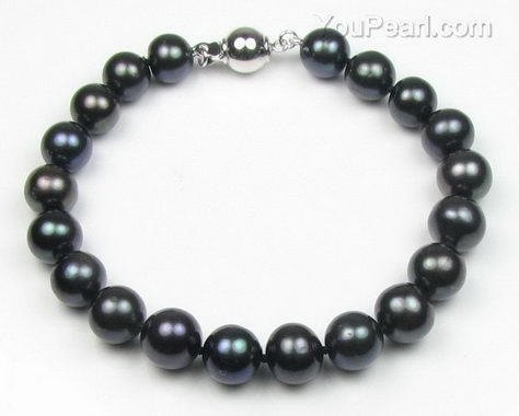 Black round fresh water pearl bracelet factory direct sale, A+ 8.5-9.5mm