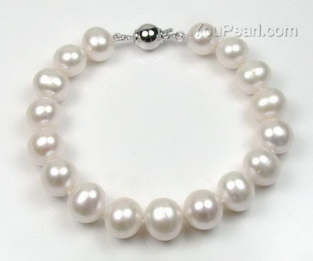White near round freshwater pearl bracelet on sale, 10-11mm