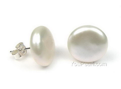 Sterling Silver Freshwater White Coin Pearl Stud Earrings 12 14mm