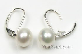 8 9mm White Pearl Leverback Earrings Ed Sterling Silver
