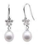 Flower 925 silver freshwater pearl dangle earrings on sale, 7-8mm