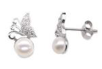 Sterling 925 silver freshwater pearl stud earrings bulk sale, 7-8mm