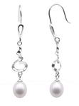 925 sterling silver freshwater pearl dangle earrings on sale, 7-8mm